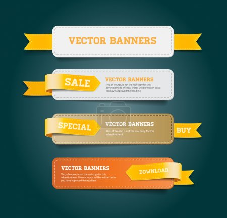 Illustration for A set of vector promo banners decorated with yellow ribbon tags - Royalty Free Image