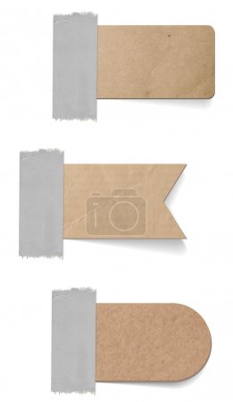 Vector cardboard labels - tags attached with a sticky tape