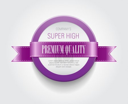 """Illustration for Vector plastic round badge - banner decorated with purple ribbon, """"Premium Quality"""" - Royalty Free Image"""