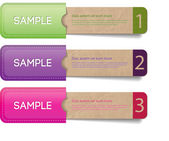 Three vector old vintage paper textured tags - labels - banners in the pockets one two three steps