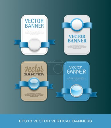 A set of vertical vector promo banners decorated with blue ribbons and various plastic round seals