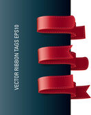 A set of vector modern colorful ribbon tags red