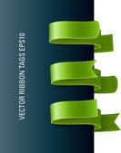 A set of vector modern colorful ribbon tags green