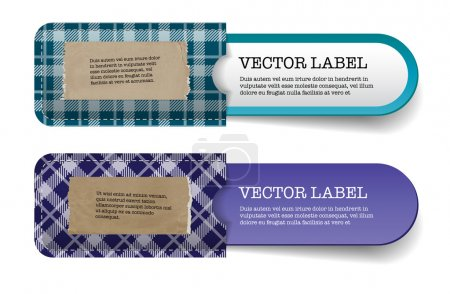 Abstract vector vintage blue tags with tartan textured pockets and torn old paper stickers on it