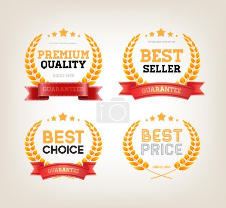 "Illustration for Four vector vintage badges collection ""Best choice"", ""Premium quality"", ""Bestseller', ""Best price"" - Royalty Free Image"