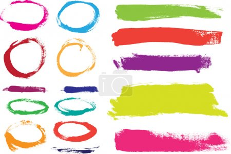 Illustration for Rainbow hand painted vector abstract brush strokes and circles collection - Royalty Free Image