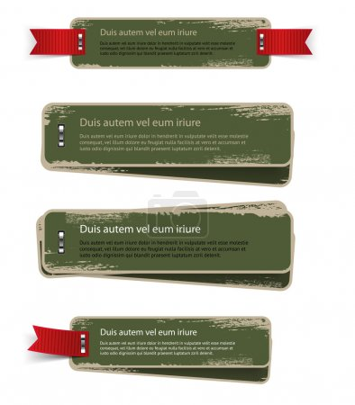 A set of green vector vintage cardboard military style badges