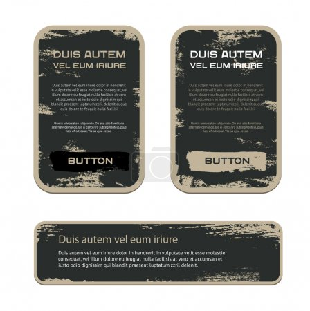 A set of blue vector vintage military style badges with grunge weathered paint background