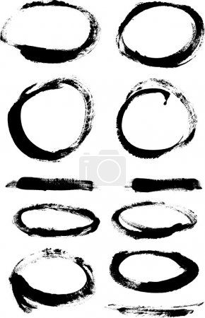 Illustration for Black hand painted vector abstract brush strokes and circles collection - Royalty Free Image