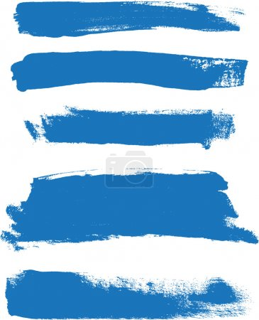 Blue hand painted vector abstract brush strokes collection