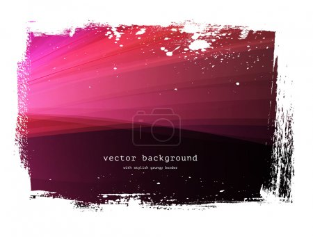 Dark purple vector smooth wavy background with grungy border