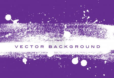 Purple vector grungy brush stroke hand painted background with paint splatter