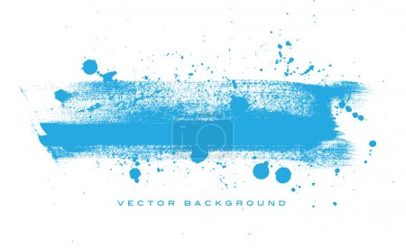 Illustration for Blue vector grungy brush stroke hand painted background with paint splatter - Royalty Free Image