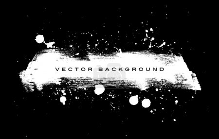 Black and white vector grungy brush stroke hand painted background