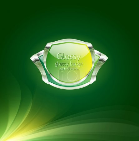 Glossy glass vector badge - banner - button with c...