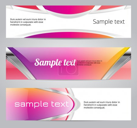 Pink glossy vector banners...