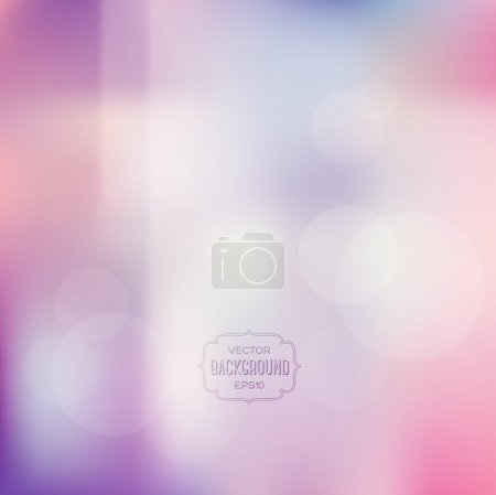 Illustration for Vector blurry soft background with photographic bokeh effect. Smooth unfocused film effect. Pale romantic pink and purple tones. Retro light leaks. Cross processing effect. - Royalty Free Image