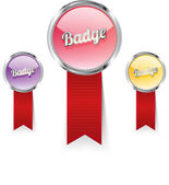 Glass vector badges with red ribbons and metallic decoration
