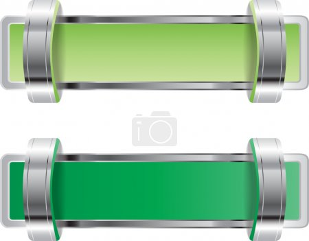 Green shiny metallic chrome vector badge with brackets