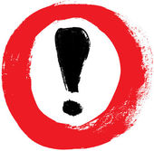 Red vector hand-painted exclamation - warning - danger sign - icon in a circle