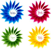Set of abstract floral vector shapes, yellow blue green and red