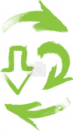 Green vector hand-painted brush stroke arrows collection on white background