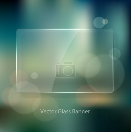 Illustration for Vector vintage soft blurry background in the style of an unfocused film photograph with bokeh and glass badge. Cross process color effect. Transparent glossy banner. Retro look. - Royalty Free Image