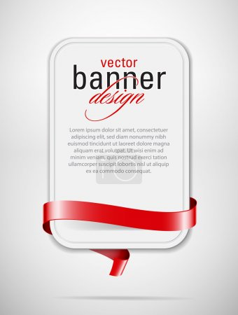 Illustration for Vector white cardboard banner with red decorative ribbon - Royalty Free Image