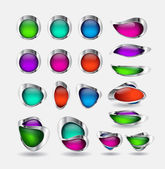 Vector glass buttons with metallic borders