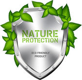 Shiny brushed steel vector shield with green leaves - nature protection