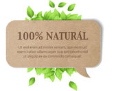 Vintage cardboard paper vector banner with fresh green leaves