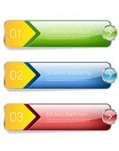 Three glossy vector banners decorated with golden ribbons and colorful buttons
