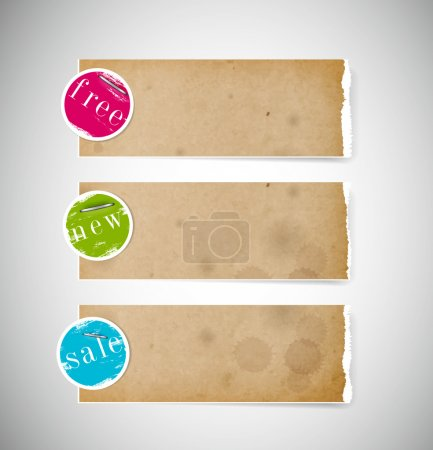 Vector old used stained torn paper banners