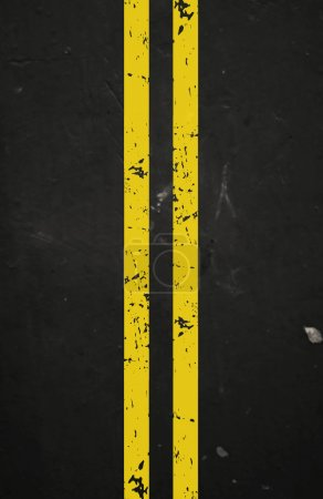 Vector textured asphalt road with cracked yellow marking
