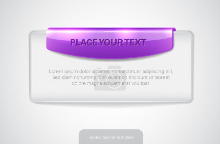 Illustration for Vector white web banner with glossy purple tag - Royalty Free Image