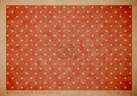 Vector vintage worn out paper card with worn out red dotted geometric print