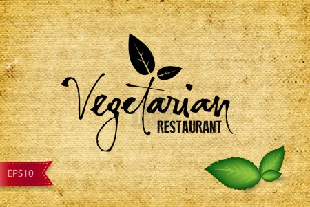 Vector handwritten calligraphy Vegetarian over old vintage canvas background