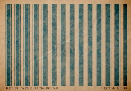 Vector vintage worn out paper card with worn out blue striped geometric print