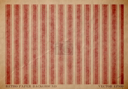 Vector vintage worn out paper card with worn out red striped geometric print