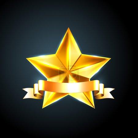 Vector shiny beveled golden star with golden ribbon