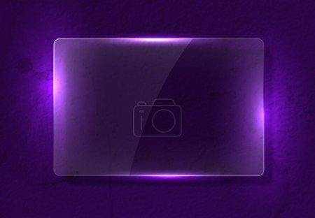 Illustration for Vector clear glass banner over old distressed worn out purple wall background - Royalty Free Image