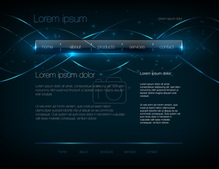 Illustration for Vector dark blue web site design template with glossy navigation bar and modern glowing background - Royalty Free Image