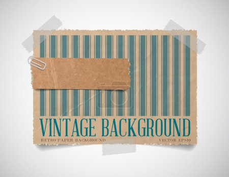 Vector vintage striped paper card template with a torn piece of old paper