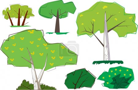A collection of sixties cartoon style trees and shrubs