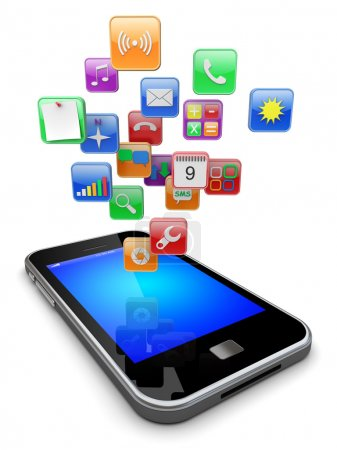 Photo pour Téléphone intelligent mobile avec icônes d'applications logicielles. Image 3d - image libre de droit