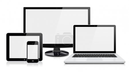Photo for Computer monitor, laptop, tablet pc, and mobile smartphone with a blank screen. Isolated on a white. 3d image - Royalty Free Image