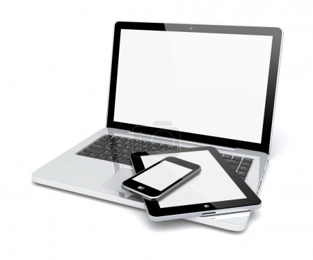 Photo for Laptop, tablet pc computer and mobile smartphone with a blank screen. Isolated on a white. 3d image - Royalty Free Image