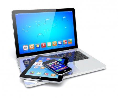 Photo pour Ordinateur portable, tablette PC et smartphone mobile avec un fond bleu et des applications colorées sur un écran. Isolé sur un blanc. Image 3d - image libre de droit