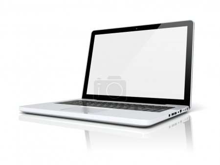 Photo for Laptop with blank screen on a white background. 3d image - Royalty Free Image
