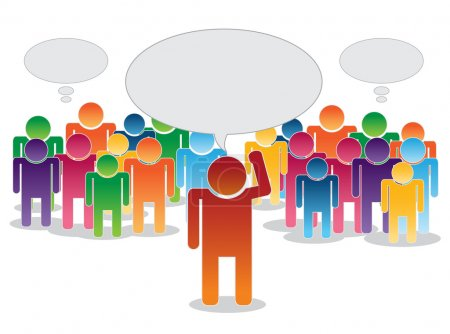 Vector of crowd thinking and leader